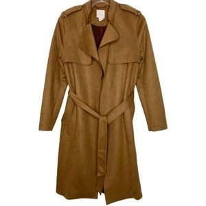 H&M  Sz 2 Trench Coat  Overcoat Faux Suede Brown